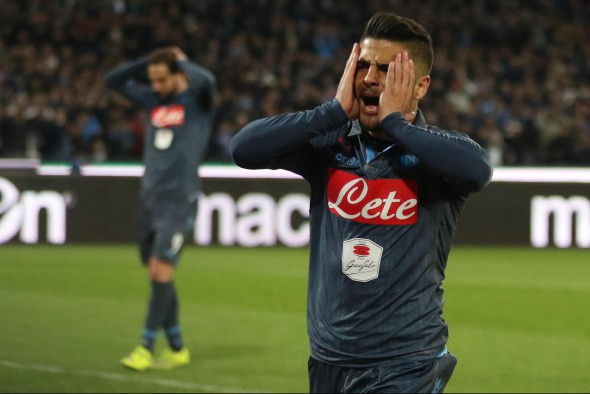 Lorenzo Insigne of SSC Napoli reacts during the Coppa Italia semi final second leg soccer match between SSC Napoli and SS Lazio at San Paolo stadium in Naples, Italy, 08 April 2015. EPA/CESARE ABBATE